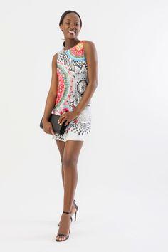 Suzy Shier Printed Lace Sheath Dress