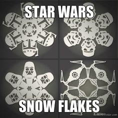 That's right, Star Wars Snowflakes! How to: Make DIY Star Wars Snowflakes (Free Templates) Christmas Fun, Holiday Fun, Christmas Decorations, Xmas, Origami, Star Wars Snowflakes, Paper Snowflakes, Diy Star, Deco Cupcake