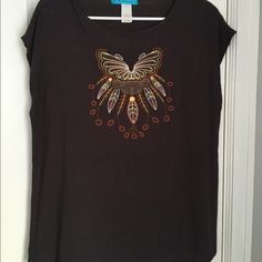 Top with tribal embroidery Perfect condition! Tops Blouses