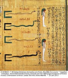 Egyptian civilization, Third Intermediate Period, Dynasty XXI-XXII. Mythological papyrus of Imenemsauf, Chief bearer of Amon. Detail: the hills of the Afterlife.