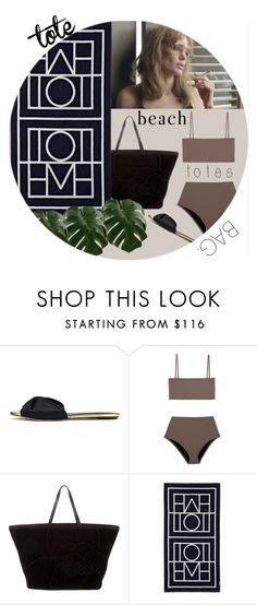 """""""Untitled #277"""" by kittiena ❤ liked on Polyvore featuring Oscar de la Renta, Chanel, Biarritz and beachtotes"""