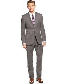 Perry Ellis Portfolio Suit, Grey Check Slim Fit - Suits - Men - Macy's