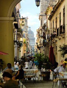 Streetside restaurants in old Havana, Cuba