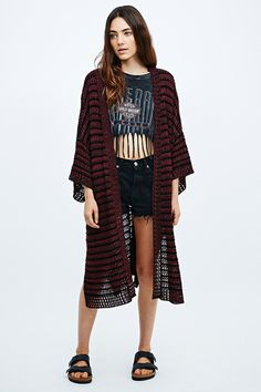 Staring at Stars Kimono Cardigan in Black and Red