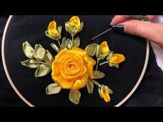 how to make silk ribbon embroidery Hand Embroidery Videos, Hand Embroidery Flowers, Flower Embroidery Designs, Hand Embroidery Stitches, Embroidery Techniques, Satin Ribbon Roses, Ribbon Art, Diy Ribbon, Ribbon Crafts