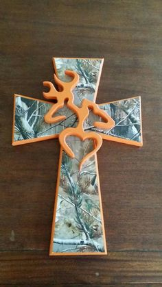Handcrafted Wooden Cross With Browning Symbol