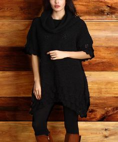 Love this Black Crochet Boucle Cowl Neck Sweater - Plus on #zulily! #zulilyfinds