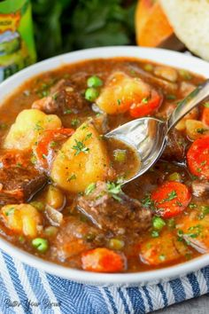 This Hearty Beef Stew will warm you to the bones. Tender cubes of beef, carrots and potatoes in a rich delicious sauce. Everyone is sure to crave! #beefstew #comfortfood #stew #onepotmeal Beef Stew Stove Top, Easy Beef Stew, Beef Stew Meat, Beef And Potatoes, Stewed Potatoes, Meat Recipes, Healthy Recipes, Recipes With Beef Soup Bones, Venison Recipes