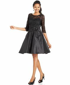 Jessica Howard Dress, Three-Quarter-Sleeve Illusion Lace A-Line. Oh I'm really liking this one! Just might be the one!