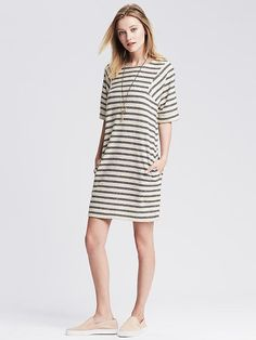 Striped Elbow-Sleeve Shift