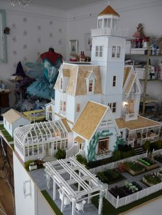 Stunning dollhouse replica of house from the movie Practical Magic made from scratch