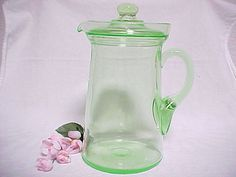 Hey, I found this really awesome Etsy listing at https://www.etsy.com/listing/178127102/green-depression-glass-pitcher-with-lid