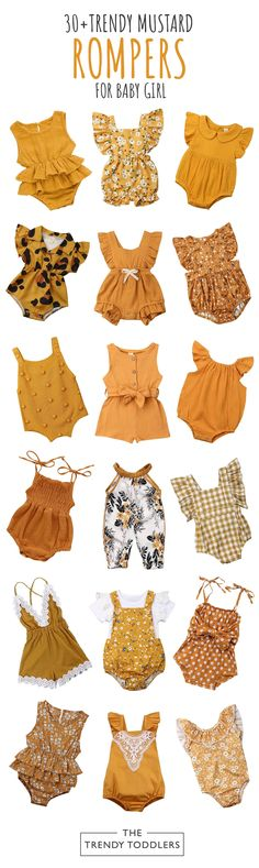 Refresh your baby girl's wardrobe in time for any occasion with this collection of cute mustard rompers. She deserves to look outstanding and get tons of compliments Baby Girl Mustard Rompers Collection The Trendy Toddlers thetrendytoddlers The Tre Baby Girl Romper, Cute Baby Girl, Baby Dress, Baby Baby, Sew Baby, Baby Girl Fashion, Fashion Kids, Fashion Fashion, Baby Outfits