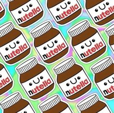 background, brown, colorful, cute, food, layout, nutella, red, smile, sweet, wallpaper, white