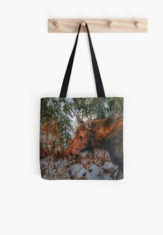 Wild Canadian Moose Grazing in Winter Forest Totes by Skye Ryan-Evans
