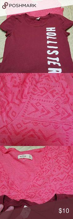 2 Hollister tshirts Pink print one is a V neck Burgundy is a regular t-shirt neck Hollister Tops Tees - Short Sleeve