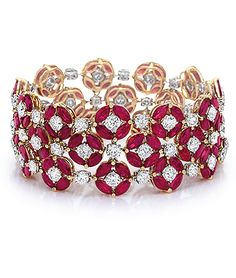 http://rubies.work/0074-ruby-rings/ Ruby and diamond bracelet, Cellini Jewelers