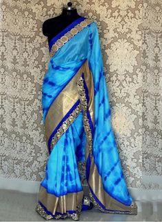 New Sky Blue Georgette Designer #Saree#beautiful #new_arrival #Latest