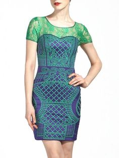 Green Navy Short Sleeve Embroidery Lace Bodycon Dress
