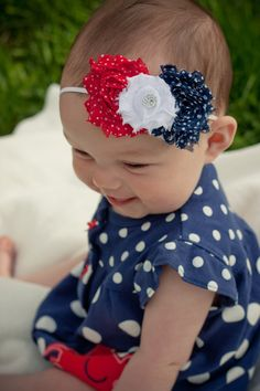 Baby Headband 4th of July Headband Independence Day Hair bow toddler girl Red White Blue Navy Polka Dots