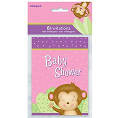 Girl Monkey Baby Shower Invitations 8ct -- You can get additional details at the image link.