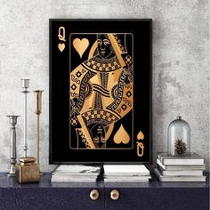 Heart Canvas, Gold Canvas, Framed Canvas Prints, Canvas Frame, Queen Of Hearts Card, Queen Of Spades, Canvas Designs, Floating Frame, Wall Sculptures