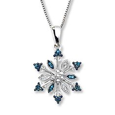 Snowflake Necklace Blue & White Diamonds Sterling Silver for the girls