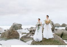 This sublime beach shoot showcased simple, flowy gowns, livened up with striking bouquets. Winter Wedding Inspiration, Wedding Ideas, Flowy Gown, Beach Shoot, Designer Wedding Dresses, Seaside, Bouquets, Floral Design, Destinations