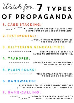 Watch for 7 Types of Propaganda.  Erin Wing's blog.  She has over 1 million followers on Pinterest.