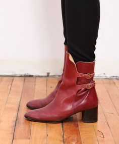 double strap leather boots