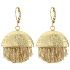 Vince Camuto Half and Half Chain Fringe Earrings (Antique Gold)... ($38) ❤ liked on Polyvore featuring jewelry, earrings, ball jewelry, fringe jewelry, dangle earrings, dangling jewelry and antique gold earrings