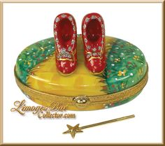 Limoges Dorothy's Ruby Slippers on the Yellow Brick Road w Gold Wand Inside Trinket Box (Beauchamp).