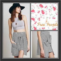 FINAL LAST CHANCE Free People All Tied Up Skirt😍 Simultaneously fashionable and functional, this Free People skirt--brimming with skinny nautical stripes--features two oversized panels that tie at the waist to create pragmatic pockets and a flattering, belted look. Rayon Hand wash Imported Elasticized banded waist, overlay pockets with ties, pull-on style Free People Skirts