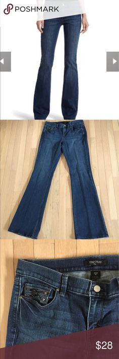 """White House Black Market Flare Embellished Jeans Noir flare Embellished jeans. 8 long 35"""" inseam. Great condition. White House Black Market Jeans Flare & Wide Leg"""