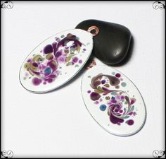 Lilac Mist... Handmade Torch Fired Enamel Charms Beads Glass Oval Copper Jewelry Earring Pair Purple Plum Violet Sage Olive Green…