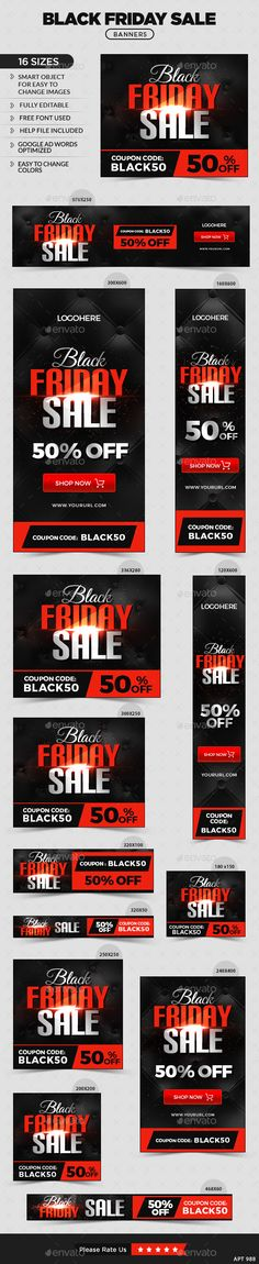 Black Friday Web Banners Template PSD #ads #design Download: http://graphicriver.net/item/black-friday-banners/13606475?ref=ksioks