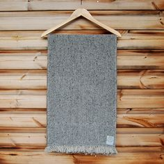 Large Handwoven Selvedge Scarf in Mouse Grey Donegal Wool