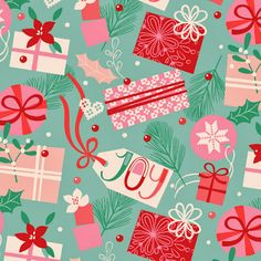 christmas, gifts and tags, greeting card design, surface pattern, illustration victoriajohnsondesign.com