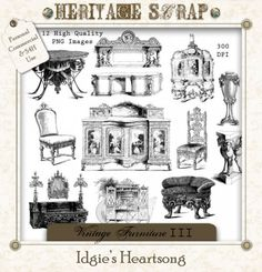 VINTAGE FURNITURE III - 12 PNG STAMPS by Idgie's Heartsong  $7.00  $3.50  Save: 50% off  VINTAGE FURNITURE - SET III Features 12 More Amazing Vintage Pieces of Furniture. Intricate Details Prevail on These Large (2500 Pixels in Longest/Widest Direction) Images.  So Many Uses For These Beautiful Graphics: Blend Them Into Your Backgrounds, Create Altered Art, Journals, Illustrate a Book/Story - You Might Even Consider Adding Some Text and Transferring the Design to Fabric or Real Furniture.