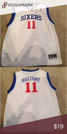 5130234879762 NBA Adidas SIXERS XL  11 Holiday Jersey This is a youth size XL Adidas NBA
