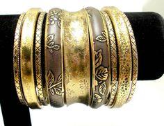 Wide Metal Mixed Fashion Women Bracelets and Bangles. Wholesale Indain Vintage Jewelry Set Trendy Metallic Bracelet  Accessories $5.80