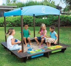 Sun Smarties Wood Sandbox with Canopy