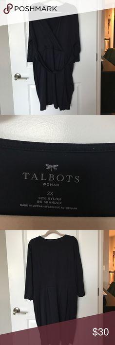 Faux Wrap Dress Navy blue faux Wrap Dress from Talbots. Talbots Dresses
