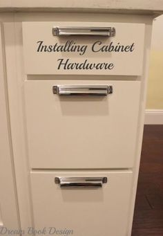 How To Install Kitchen Cabinet Hardware Tutorial on dreambookdesign.com Steps that make it really easy to be able to install hardware on any cabinet!