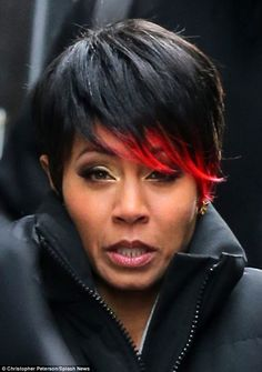 Hot headed: The 42-year-old showed off a short pixie cut hairstyle with a long red-dipped fringe