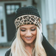 bc08eb646a6 Spice up your headwear accessories with these darling CC Leopard print  beanies and keep warm and