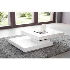 Table basse carrée pivotant blanc laqué - Comforium.com