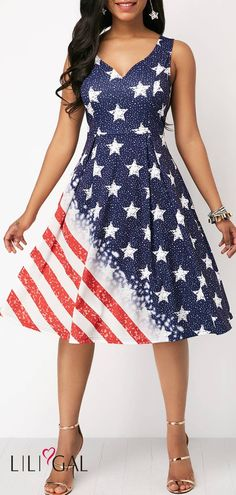d2fe80f08df9 V Neck American Flag Print Dress #liligal #4thofjuly #fourthofjuly  #patriotic American Flag