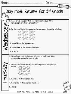 Homeschool Worksheets, Math Resources, 3rd Grade Math, Third Grade, Cooperative Learning Strategies, Spiral Math, Daily Math, Common Core Standards, Math Teacher