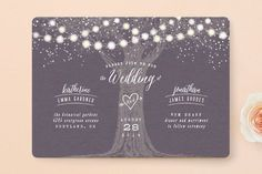 """Garden Lights"" - Rustic, Whimsical & Funny Wedding Invitations in Plum by Hooray Creative."